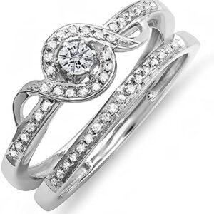 Dazzlingrock Collection 0.25 Carat (ctw) Round Diamond Ladies Bridal Promise Ring Set Matching Band 1/4 CT, Sterling Silver