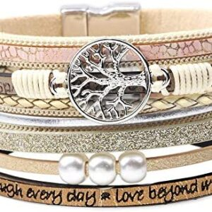 DESIMTION Womens Boho Wrap Leather Multilayer Wide Tree of Life Bracelets Jewelry for Women Teen Girl Boy