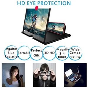 12″ Screen Magnifier –3D HD Mobile Phone Magnifier Projector Screen for Movies, Videos, and Gaming–Foldable Phone Stand with Screen Amplifier–Supports All Smartphones(Black)