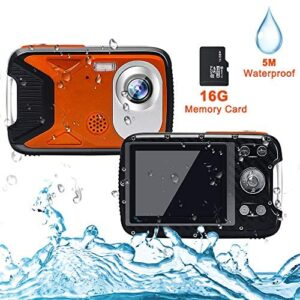 Cocac Waterproof Camera 21MP 1080P Underwater Digital Camera with Flash 2.8 Inch LCD, Rechargeable HD Digital Camera for Snorkeling/Travel/Gift(Orange & 16G Card)