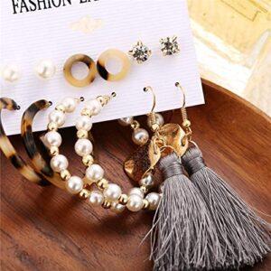 36 Pairs Fashion Tassel Earrings Set for Women Girls Gold Cross Dangle Leaf Earrings Bohemian Acrylic Hoop Stud Earrings for Birthday/Party/Dinner/Christmas