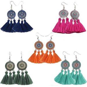 5 Pairs Women's Girls Elegant Jewellery Handmade Bohemia Ethnic Tassels Dangle Stud Earrings Eardrop turquoise earrings dangle