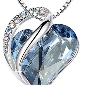 """Leafael """"Infinity Love Heart Pendant Necklace Made with Swarovski Crystals Birthstone Jewelry Gifts for Women, Silver-Tone, 18″+2"""", Presented by Miss New York"""