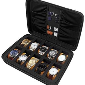10 Slots Watch Box Organizer/Men Watch Display Storage Case Fits All Wristwatches and Smart Watches up to 42mm with Extra 4 Pocket for Watch Band and Other Accessories (Black)