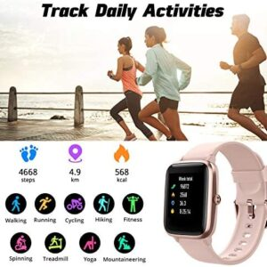 Fitpolo Fitness Tracker, Smart Watch Step Trackers with Heart Rate Monitor, IP68 Waterproof 1.3 Inch Color Touch Screen Activity Tracker wth Sleep Monitoring, Calorie Counter, Pedometer for Men Women