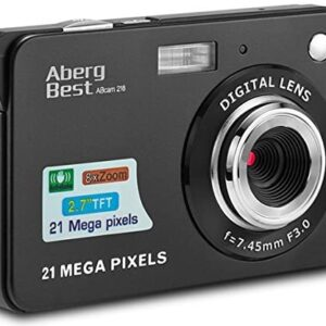 AbergBest 21 Mega Pixels 2.7″ LCD Rechargeable HD Digital Camera,Video camera Digital Students cameras,Indoor Outdoor for Adult/Seniors/Kids (Black)