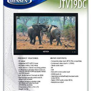 Jensen JTV19DC HD Ready 19 Inch 12V DC RV LED TV with Integrated HDTV (ATSC) Tuner, HD Ready (1080p, 720p, 480p), 1366 x 768 Full HD, Dual Function Wireless Remote Control, Black