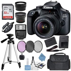 Canon EOS 4000D Digital SLR Camera w/ 18-55MM DC III Lens Kit (Black) with Accessory Bundle, Package Includes: SanDisk 32GB Card + DSLR Bag + 50'' Tripod+Extreme Elec Cloth (International Model)