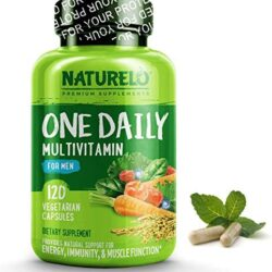 NATURELO One Daily Multivitamin for Men – with Whole Food Vitamins, Organic Extracts – Natural Supplement – Best for Energy, General Health – Non-GMO – 120 Capsules | 4 Month Supply