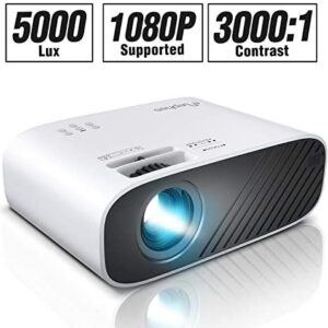 ELEPHAS 2020 Mini Movie Projector, 5000 LUX Full HD 1080P Video Projector, with 50, 000 Hours LED Lamp Life and 200″ Display, Compatible with USB/HDMI/VGA/Laptop/iPhone/TV Stick/TF Card