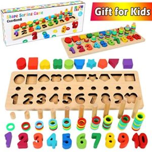 CozyBomB Wooden Number Puzzle Sorting Montessori Toys for Toddlers – Shape Sorter Counting Game for Age 3 4 5 Year olds Kids – Preschool Education Math Stacking Block Learning Wood Chunky Jigsaw