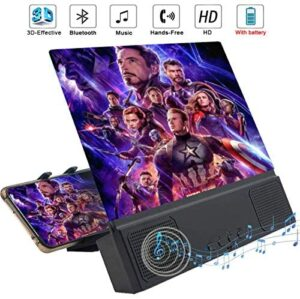 """12"""" Phone Screen Magnifier with Bluetooth Speaker, 3D HD Movies Amplifier Projector Cell Phone Screen Enlarger with Foldable Stand for iPhone 11 Pro Samsung Galaxy S9 and Other Smartphones"""