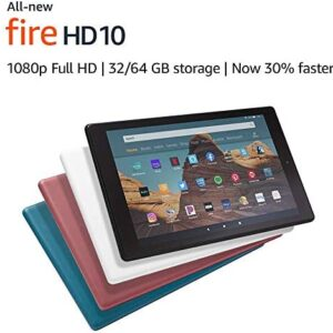 Certified Refurbished Fire HD 10 Tablet (10.1″ 1080p full HD display, 32 GB) – White