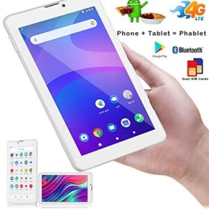 Android Tablet 7 Inch, Android 6.0 Unlocked Tablet PC w/Dual SIM Slots, 3G Phone Support, Dual Core 1.3GHz, 4GB, 2MP+5MP Dual Camera, WiFi, Compatible with Bluetooth – White
