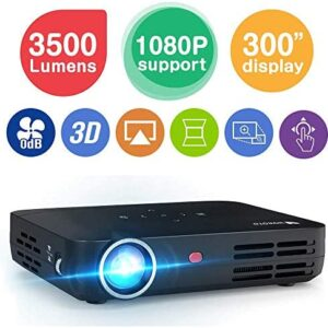 WOWOTO H8 3500 lumens Mini Projector LED DLP 1280×800 Real Mini Home Theater Projector WXGA Support 3D 1080P HD Perfect for Entertainment Business Wireless Screen Share Android HDMI USBx2 RJ45