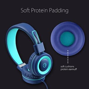 Kids Headphones – noot products K11 Foldable Stereo Tangle-Free 3.5mm Jack Wired Cord On-Ear Headset for Children/Teens/Boys/Girls/Smartphones/School/Kindle/Airplane Travel/Plane/Tablet (Navy/Teal)