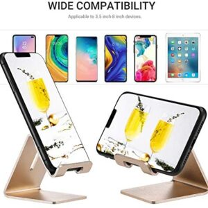 Cell Phone Desk Stand Holder – ToBeoneer Aluminum Desktop Solid Portable Universal Desk Stand for All Mobile Smart Phone Tablet Display Huawei iPhone 7 6 Plus 5 Ipad 2 3 4 Ipad Mini Samsung (Gold)
