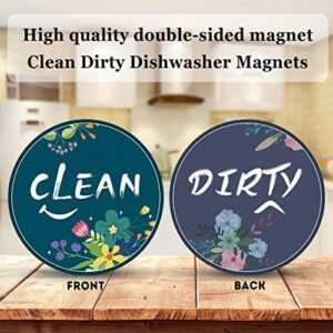 Dirty Clean Dishwasher Magnet Sign, 2 Pcs 3.5inches Round Cute Flower Design Double Sided Reversible Indicator for Women, Dishwasher Accessories, Kitchen Appliance Label for Home Organization