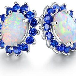 Barzel 18K White Gold Plated Created Opal Flower Stud Earrings