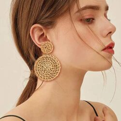 CEALXHENY Rattan Earrings for Women Handmade Straw Wicker Braid Drop Dangle Earrings Lightweight Geometric Statement Earrings