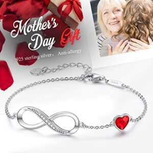 CDE 925 Sterling Silver Anklet Bracelet Infinity Heart Symbol Charm Adjustable Women Jewelry Gift Embellished with Crystals from for Mother's Day with Box