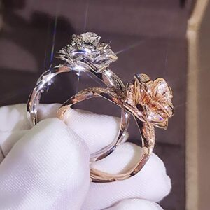 Brishow 3D Rose Ring CZ Simulated Diamond Ring Flower Ring for Women Eternity Wedding Ring 18K Engagement Diamond Rings Women Fashion Jewelry Ring Size 5-10 (7, Rose Gold)