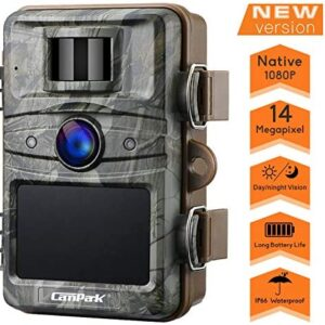 Campark T70 Trail Game Camera No Glow Night Vision 14MP 1080P Outdoor Hunting Cam Security Motion Activated Camera with 2.4″ LCD and IP66 Waterproof Battery Powered