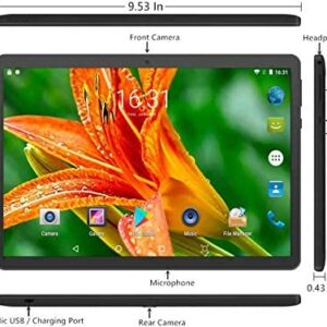 10 inch Google Android 7.0 Nougat System Tablet Unlocked Pad with Dual SIM Card Slot XINYANGCH 10.1″ IPS Screen 4GB RAM 64GB ROM 3G Phablet Built-in Bluetooth WiFi GPS Tablets (Metallic Black)