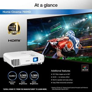 Epson Home Cinema 760HD 720p 3, 300 Lumens Color Brightness (Color Light Output) 3, 300 Lumens Brightness (White Light Output) HDMI Built-in Speakers 3LCD Projector (Renewed)