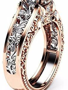 Crystal Square Simulated Diamond Engagement Ring Promise Rings for Women Separation Rose Gold Wedding Engagement Floral Ring Promise Rings Eternity Rings Valentine's Day Anniversary