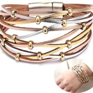 Jurxy Multilayer Leather Wrap Bracelet Silver Beaded Bohemian Braided Cuff Bangle Wristbands Wide Belt Jewelry for Women Girl – Gold and Silver