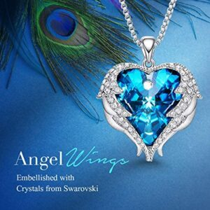 CDE Angel Wing Necklaces for Women Mothers Day Jewelry Gifts Pendant Necklace Heart of Ocean Jewelry with Gift Box