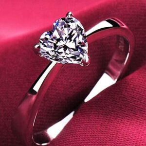 Cutedoumiao Cushion Love Heart CZ Engagement Rings for Women Cubic Zirconia Promise Halo Engagement Ring 925 Sterling Silver Solitaire Engagement Ring (7)
