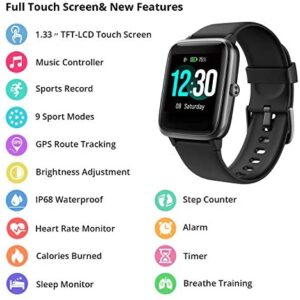 Fitpolo Fitness Tracker with Heart Rate Monitor, Smart Watch 1.3 inches Color Touch Screen IP68 Waterproof Step Calorie Counter Sleep Monitoring Pedometer Watches Activity Trackers for Women Men Kids