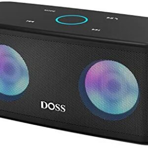 Bluetooth Speakers, DOSS SoundBox Plus Portable Wireless Bluetooth Speaker with 16W HD Sound and Deep Bass, Wireless Stereo Pairing, 20H Playtime, Wireless Speaker for Home, Outdoor, Travel – Black