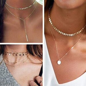 WFYOU 11PCS Layered Choker Necklace for Women Girls Sexy Coin Star Multilayer Chain Necklaces Set Adjustable
