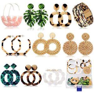 Acrylic Earrings for Women Mom Drop Dangle Leaf Earrings Resin Minimalist Bohemian Statement Jewelry (9 pair Rattan Acrylic)