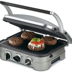 Cuisinart GR-4N 5-in-1 Griddler, 13.5″(L) x 11.5″(W) x 7.12″(H), Silver with Silver/Black Dials