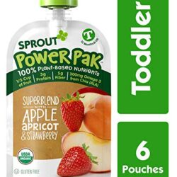 Sprout Organic Stage 4 Toddler Food Power Pak Pouches, Superblend w/ Apple Apricot & Strawberry, 4 Ounce (Pack of 6)