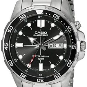 Casio Men's MTD-1079D-1AVCF Super Illuminator Diver Analog Display Quartz Silver Watch