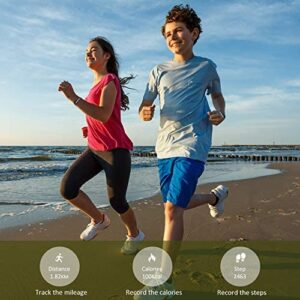 BIGGERFIVE Fitness Tracker Watch for Kids Girls Boys Teens, Activity Tracker, Pedometer, Calorie Counter, Sleep Monitor, Vibrating Alarm Clock,IP67 Waterproof Step Counter Watch, Great Kids Gift