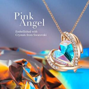 CDE 18K White/Rose Gold Birthstone Necklaces for Mother's Day Jewelry Gifts for Women, Heart Pendants
