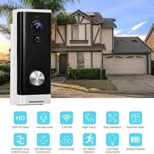 Reco Wireless Video Doorbell Camera, HD WiFi Security Camera with Real-time Video, Two-Way Talk, Night Vision, PIR Motion Detection for iOS & Android System, Free Cloud Storage and Batteries Included