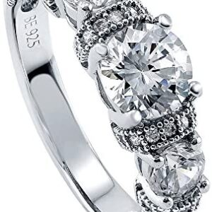 BERRICLE Rhodium Plated Sterling Silver Round Cubic Zirconia CZ 3-Stone Art Deco Milgrain Promise Engagement Ring 1.65 CTW