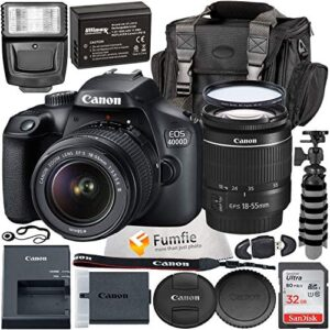 Canon EOS 4000D w/EF-S 18-55mm f/3.5-5.6 III Lens with Professional Accessory Bundle – Includes: Spare LPE10 Battery, Slave Flash, Large Gadget Bag with Dual Buckles & Much More