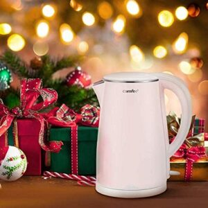COMFEE' Electric Kettle Teapot 1.7 Liter Fast Water Heater Boiler 1500W BPA-Free, Quiet Boil & Cool Touch Series, Auto Shut-Off and Boil Dry Protection, 1.7L, Baby Pink