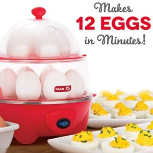 Dash DEC012RD Deluxe Rapid Cooker Electric for Hard Boiled, Poached, Scrambled Eggs, Omelets, Steamed Vegetables, Seafood, Dumplings & More, 12 capacity, with Auto Shut Off Feature Red