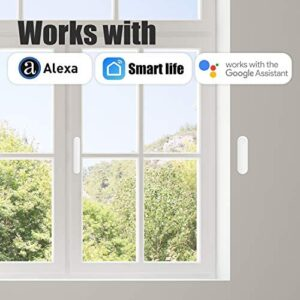 AGSHOME Wifi Door And Windows Sensor Magnets Smart Phone APP Control Doorbell Compatible With Alexa Google Assistant,Wireless Security Alarm Door Open Chime For Home Bussiness
