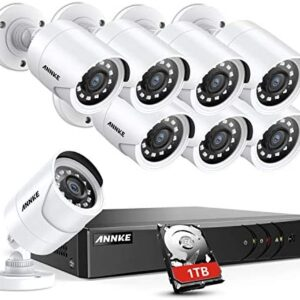 ANNKE 8CH Security Surveillance System H.264+ 1080P Lite Wired DVR and (8)×1080P HD Weatherproof CCTV Camera System, 100ft Night Vision,Easy Remote Access 1TB Hard Drive