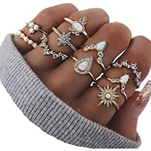 CSIYAN 6-16 PCS Knuckle Stacking Rings for Women Teen Girls,Boho Vintage Crystal Joint Midi Finger Rings Set